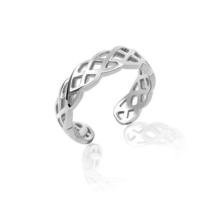 Plata de ley trenzado Weave Toe Ring