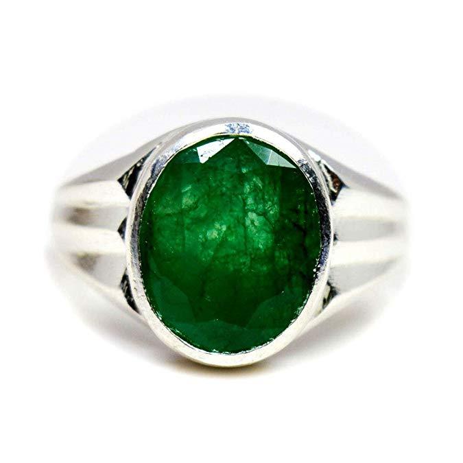 55 quilates anillo de plata esmeralda Original para los hombres 5 quilates oval