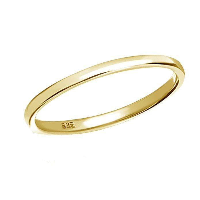 Anillo de plata de ley o bañado en oro de 14 K (0.079 in de banda)
