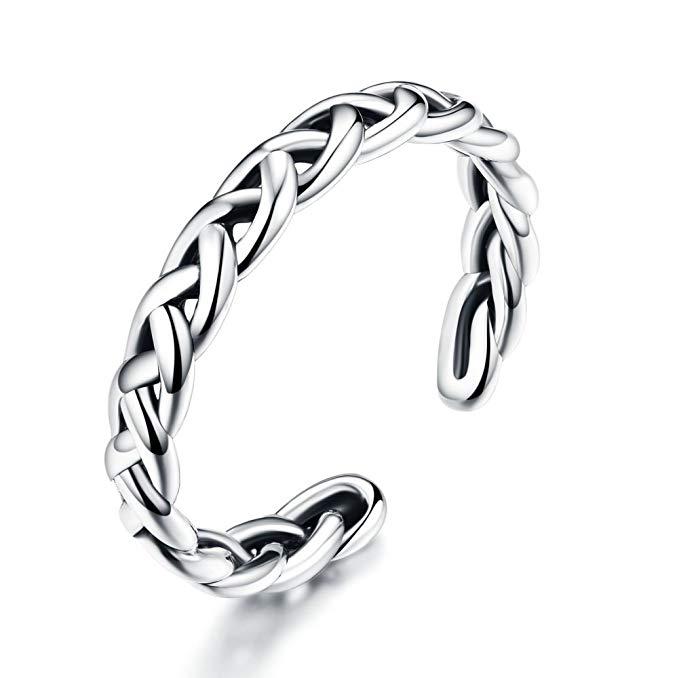 anillo trenzado de plata de ley 925 anillos de Vintage para mujeres