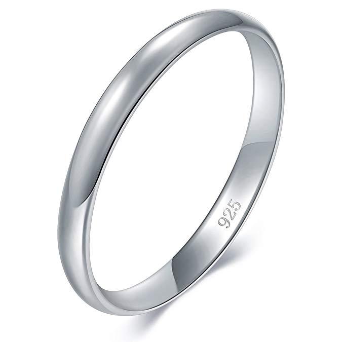 Anillo de boda/compromiso de plata esterlina 925