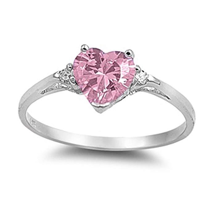Elija su color plata de ley anillo de promesa de corazón