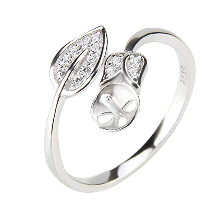 1 pieza Plata de ley 925 ajustable hoja perla anillo