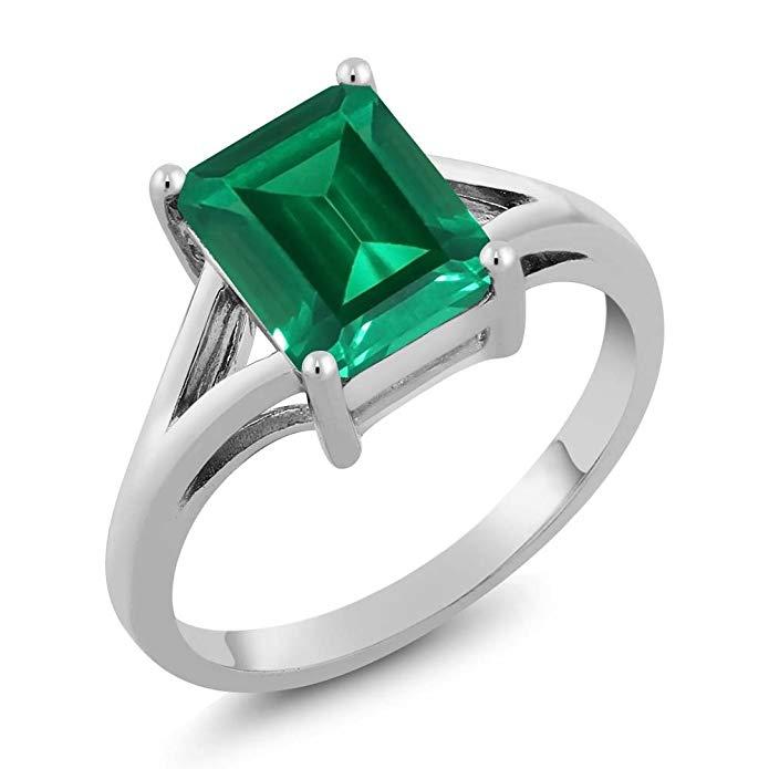 Anillo de plata de ley con esmeralda verde, imitación esmeralda