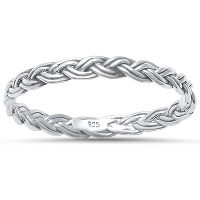 Plata de Ley trenzado celta banda anillo tamaños 4 – 11