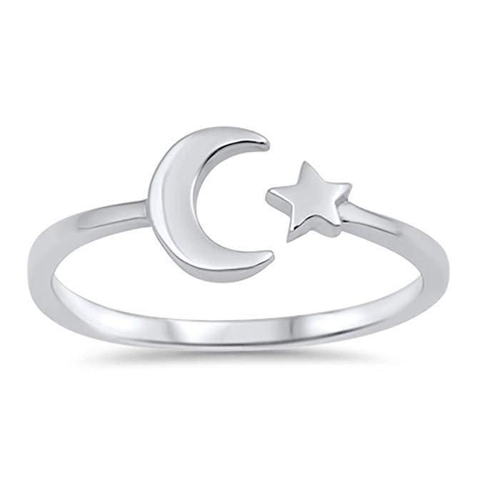 Anillo de plata esterlina con luna y estrellas, elija el color