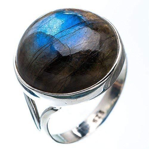 Anillo de plata labradorita, anillo de plata labradorita fuego azul