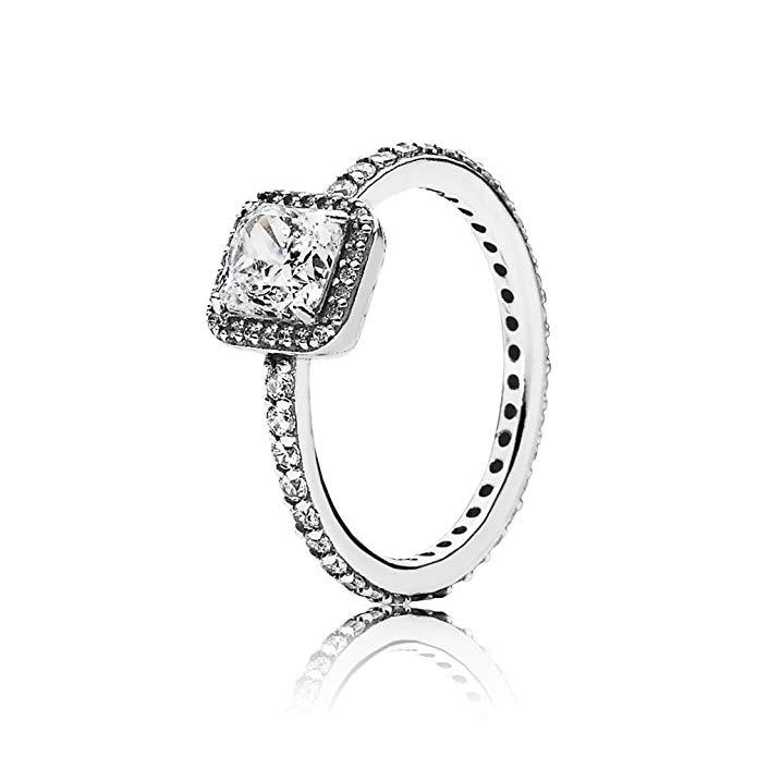 Pandora cuadrado anillo de plata, talla 62 – 190947 cz-62