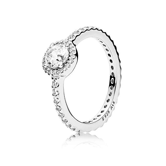 Pandora Ring Belleza clásica con Clear CZ 190946 CZ, plata de ley, Plateado, 190946CZ-54