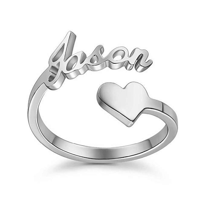 Anillo de plata de ley 925 con forma de corazón personalizable