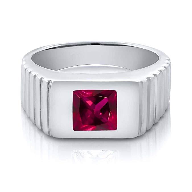 Rojo rubí plata de ley 925 anillo del Hombre