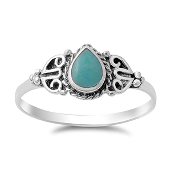 anillo de plata con gota con piedra turquesa