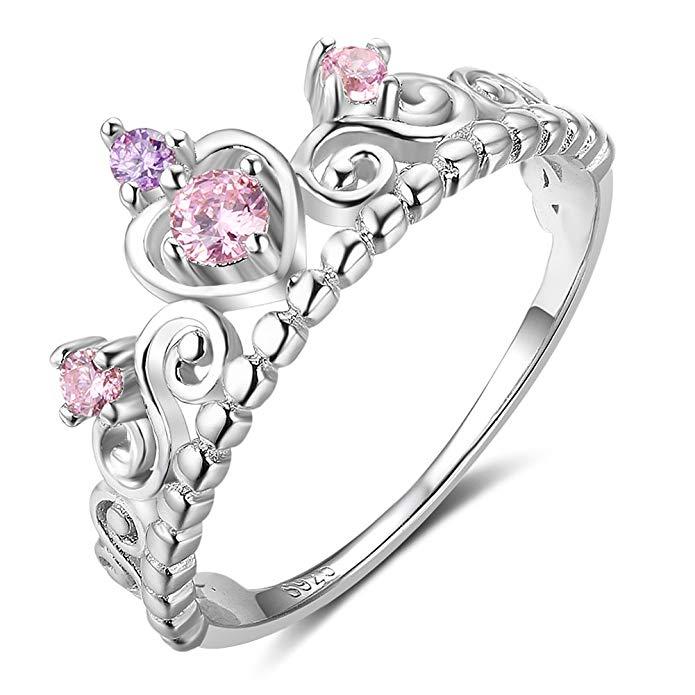 Anillo de plata de ley 925 con corazón de princesa, color rosa y morado