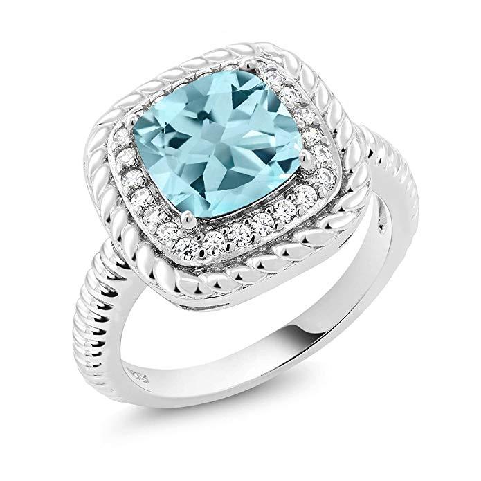 Plata de ley 925 anillo de compromiso azul
