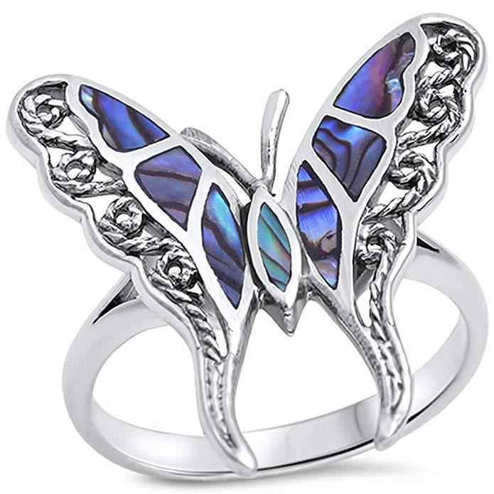 Anillo de plata de ley 925, diseño de mariposa