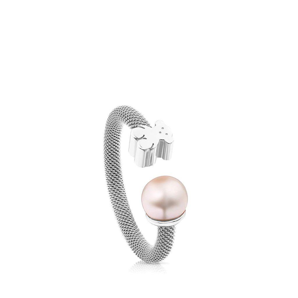Tous Icon oso y perla anillo de malla – tamaño 6,5