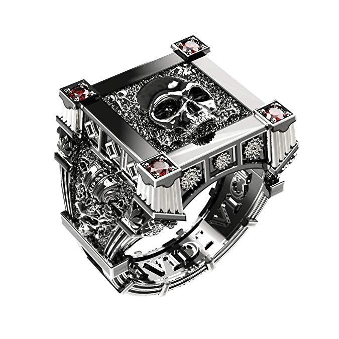 eejart 925 anillos de rubí de plata de ley, conjunto calavera cuadrado Vampire Biker