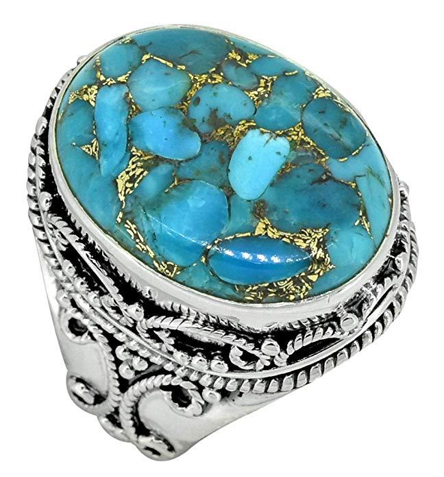 Anillo de plata de ley 925 con piedra preciosa turquesa