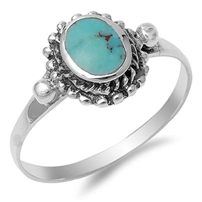 Elige tu anillo de plata de ley con piedra turquesa