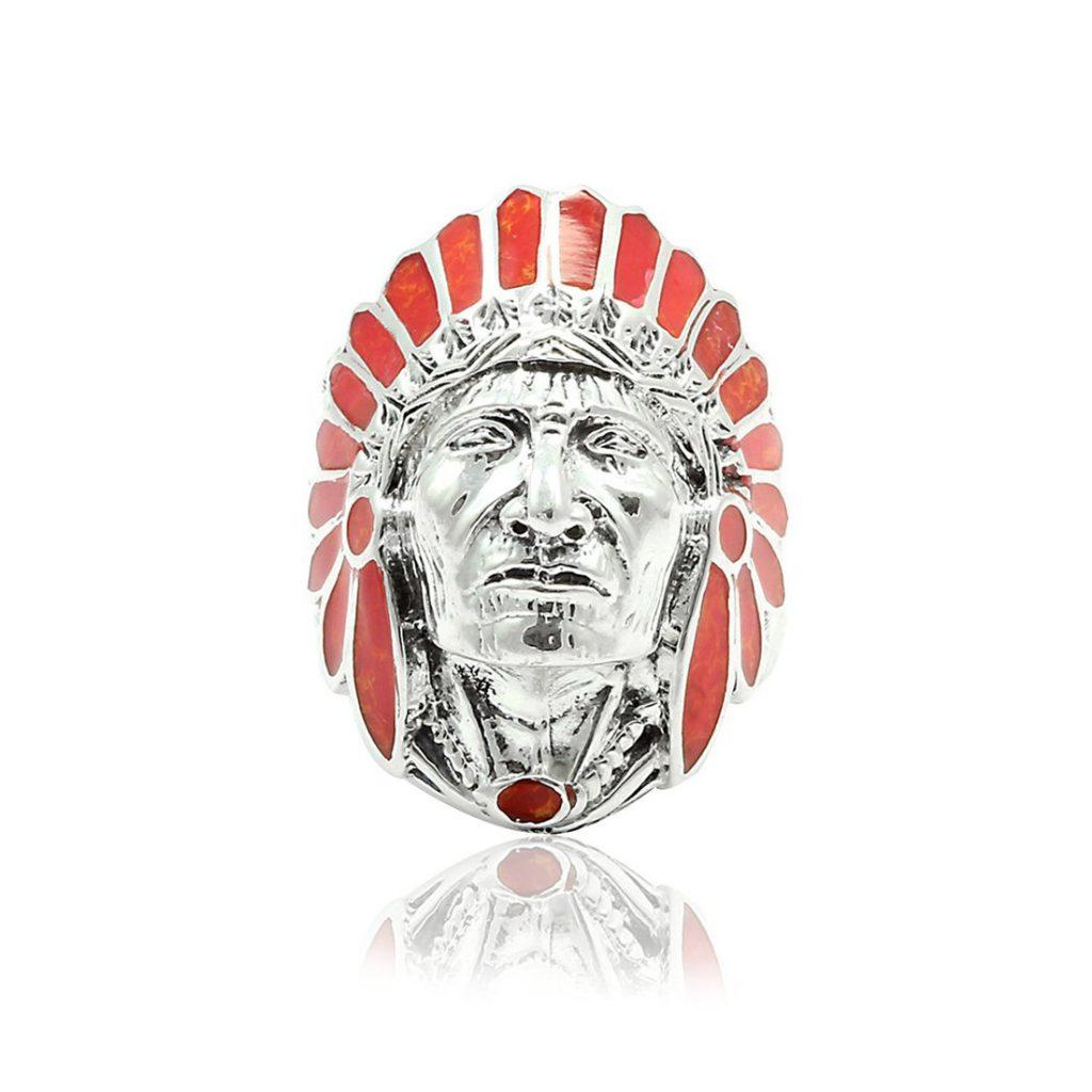 Jefe Guerrero Nativo Indio de cabeza banda anillo plata de ley 925 plata