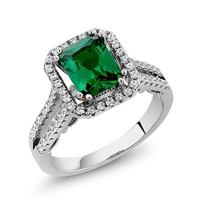 Anillo de plata de ley 925 para mujer con esmeralda simulada verde