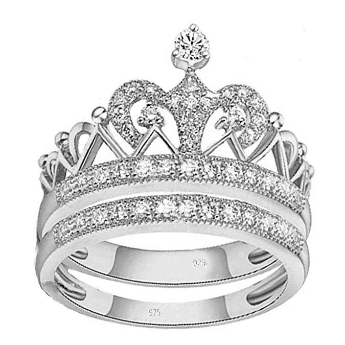 vpkjewelry 2.00 ct real 925 plata esterlina Juego de Anillos de Boda