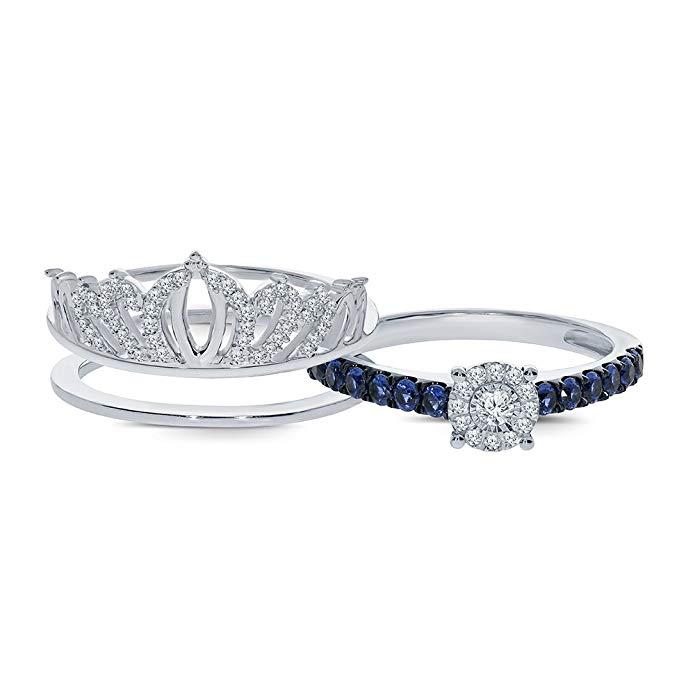 7/8 quilates diamante redondo de blanco natural zafiro azul