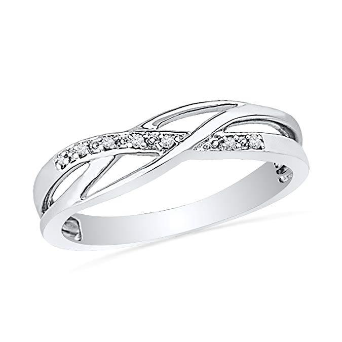 Anillo de plata de ley con diamante trenzado (0,05 quilates)