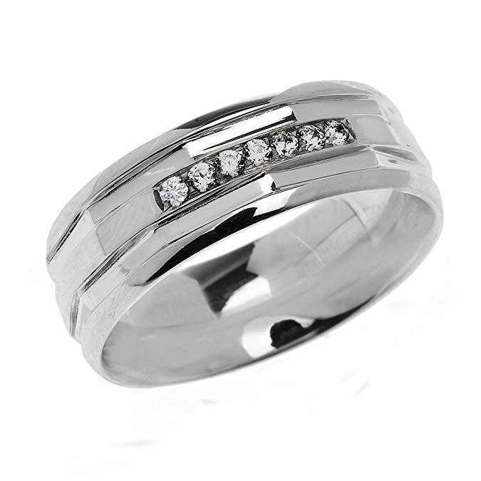 Alianza de boda moderna para hombre de plata de ley 925 con diamantes