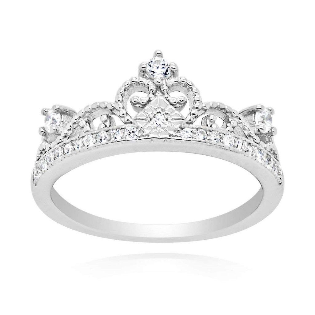 Anillo de plata de ley con circonita cúbica y corona de tiara