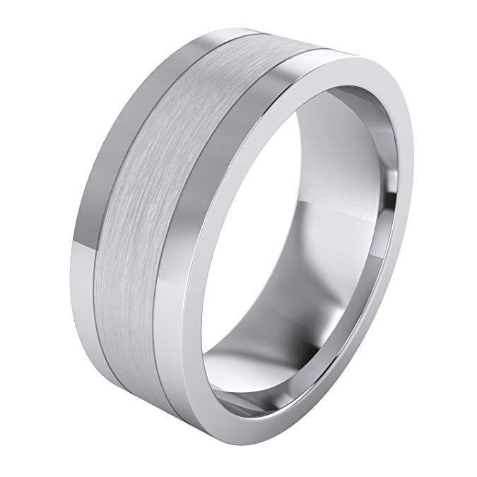Anillo de boda de plata de ley maciza pesada de 0.315 in