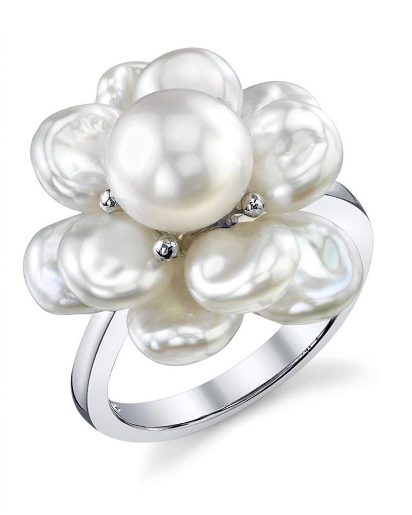 Blanco Perla Agua Dulce Cultivadas forma de Keshi Anillo