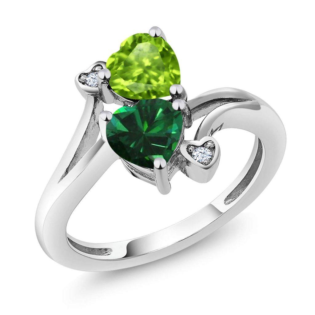 verde plata y verde anillo de esmeralda simulado