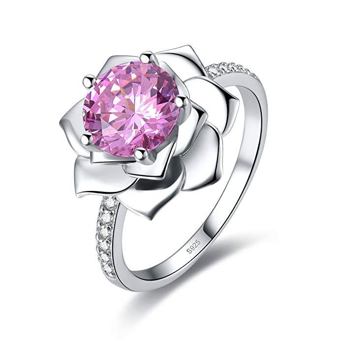Merthus Anillo de compromiso para mujer, plata de ley 925, diseño de flor de loto