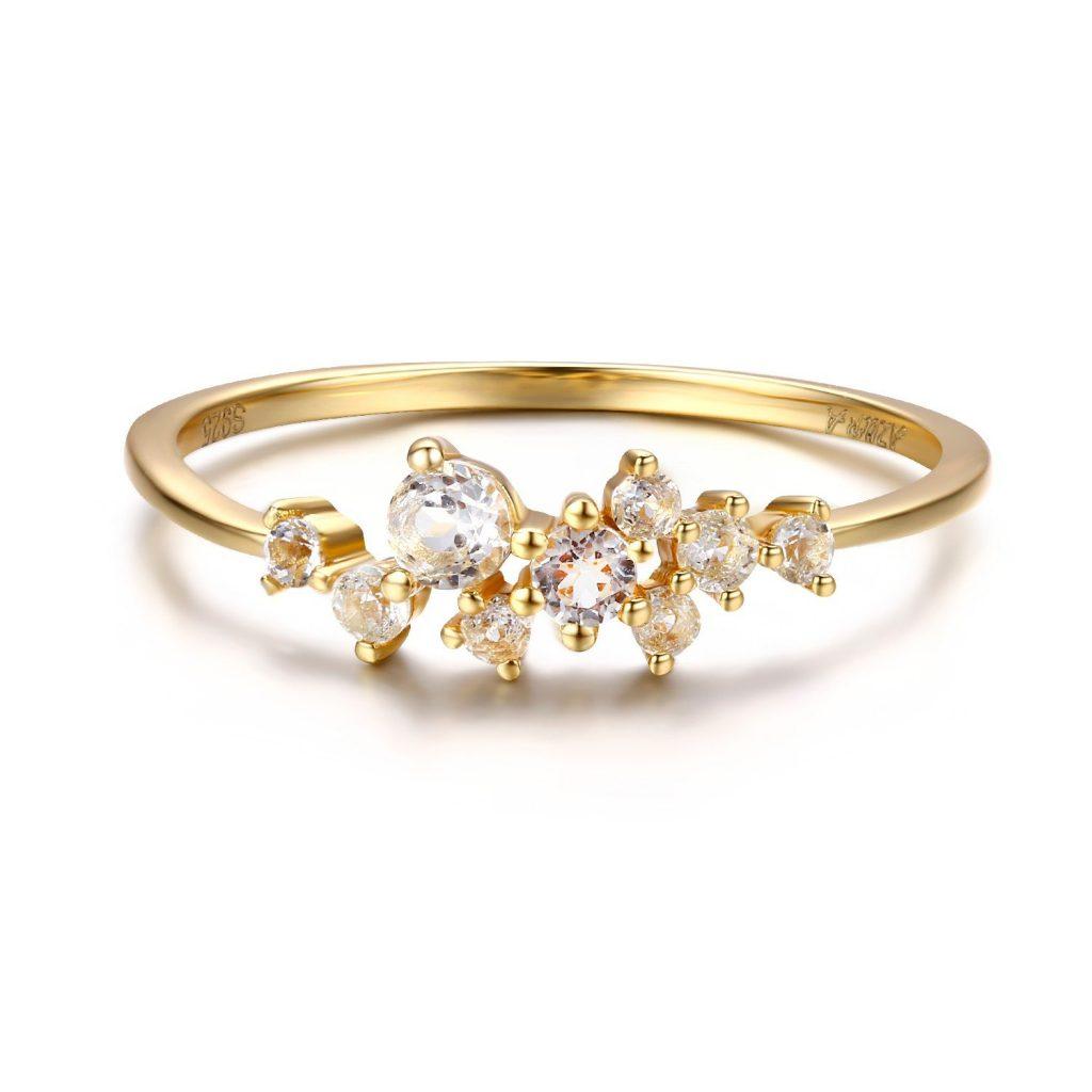 Anillo de plata de ley para mujer con diamante, oro de 14 quilates