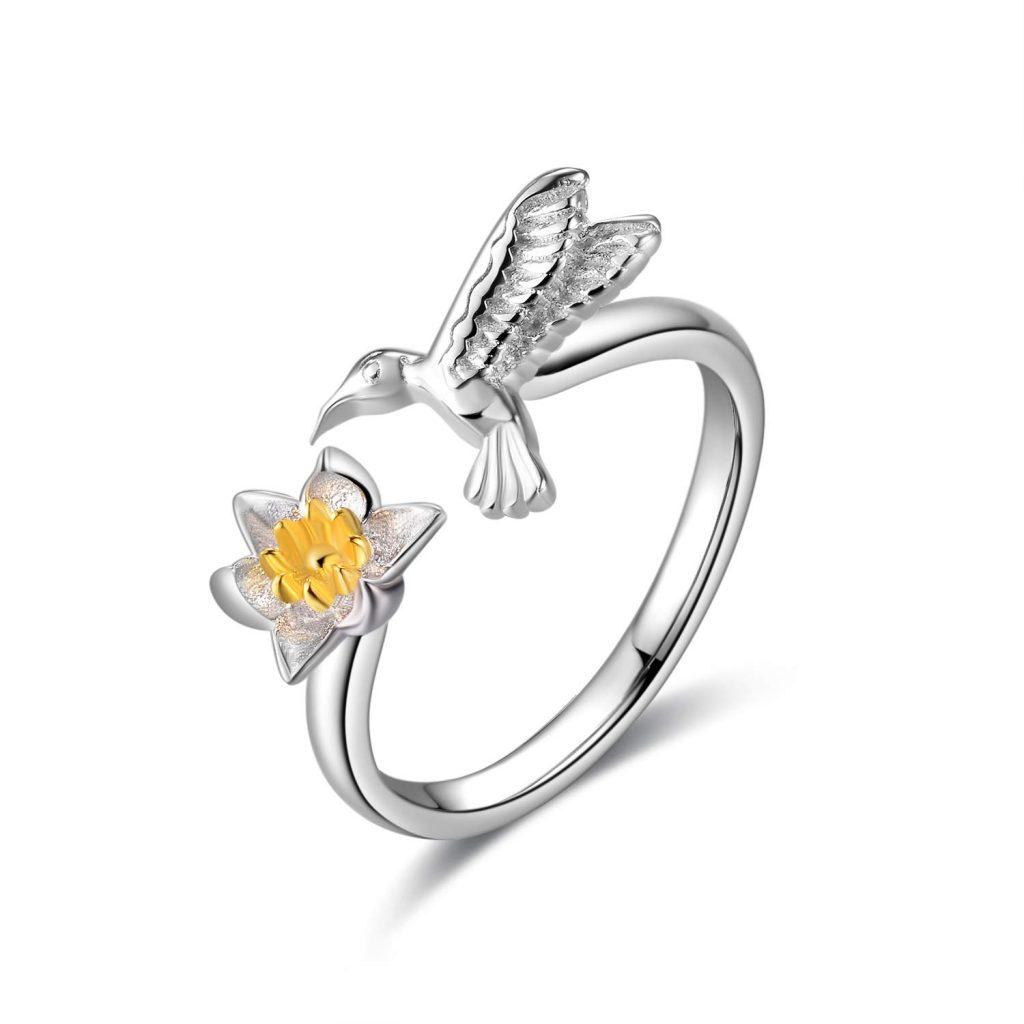 Anillos de plata de ley 925 con colibrí para mujeres y niñas