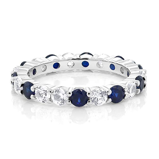 Anillo de boda de plata de ley con piedras preciosas de zafiro azul y blanco