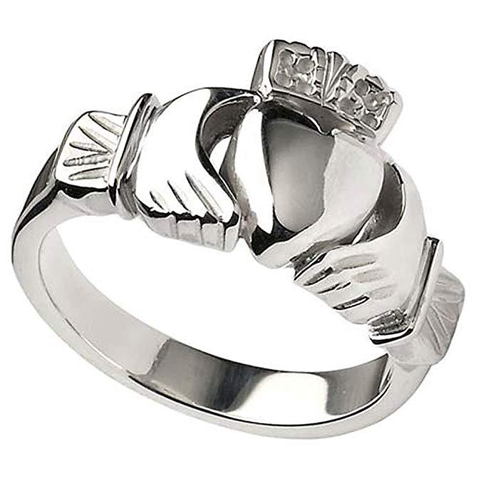 Para hombre irlandés de plata de ley pesado anillo de Claddagh de Irlanda