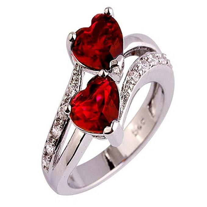 aimtoppy amante de la moda joyas corazón Cut zafiro y rubí anillo de plata