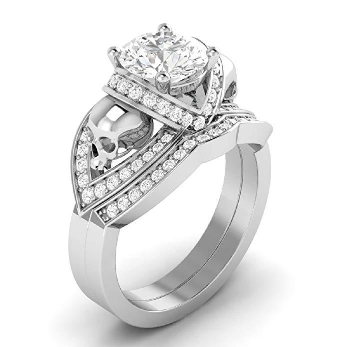Nueva Ronda de anillo de compromiso de calavera color