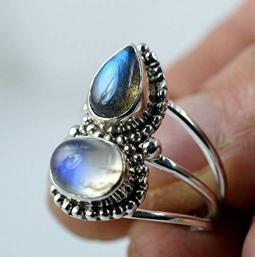 Piedra lunar del arco iris, anillo hecho a mano de plata esterlina
