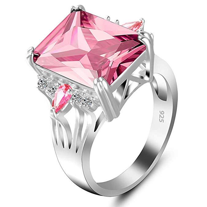 Anillos de cristal para mujer con diseño de perro hermano rosado