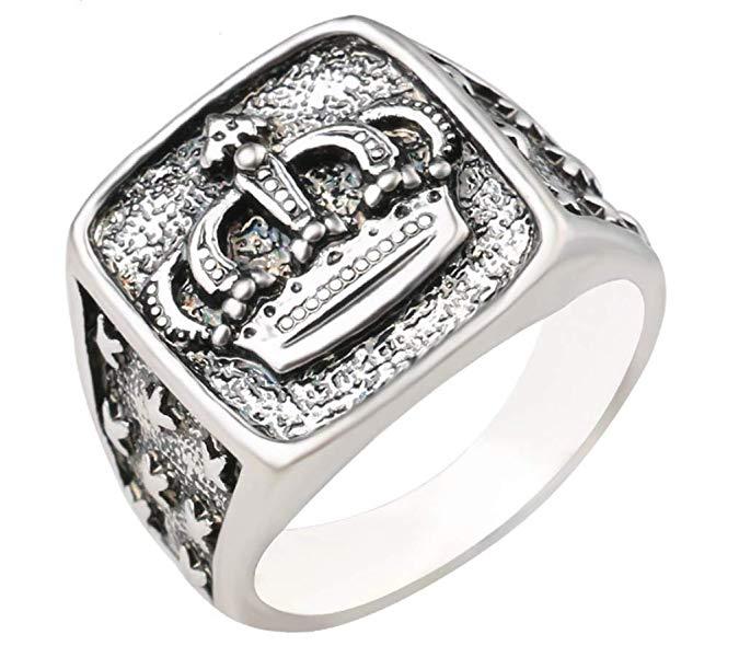 Anillo para hombre y mujer, chapado en plata, diseño de corona El anillo perfecto