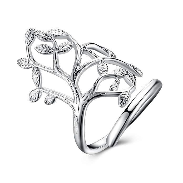 Árbol de la vida boda banda anillo de compromiso plata de ley 925