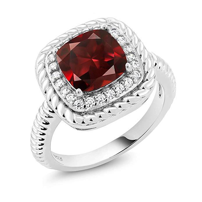 2,74 ct Cushion Cut Rojo Granate 925 Plata esterlina anillo de compromiso