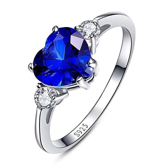 Anillo de plata de ley 925 con diseño de corazón de San Valentín azul