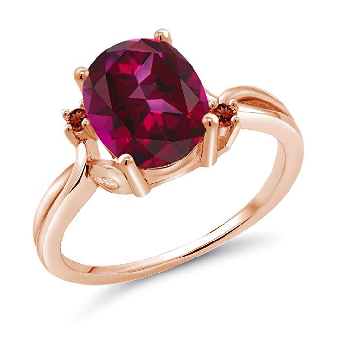 Solitario de plata chapado en oro rosa de 18 k con anillo de piedras de acento en rojo