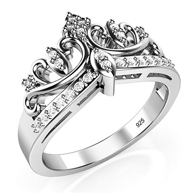 Anillo de metal de plata de ley 925 circonio cúbico princesa corona Tiara CZ Band