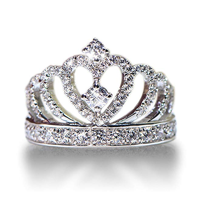 anillo corona de plata 925, con CZ incrustado de moda