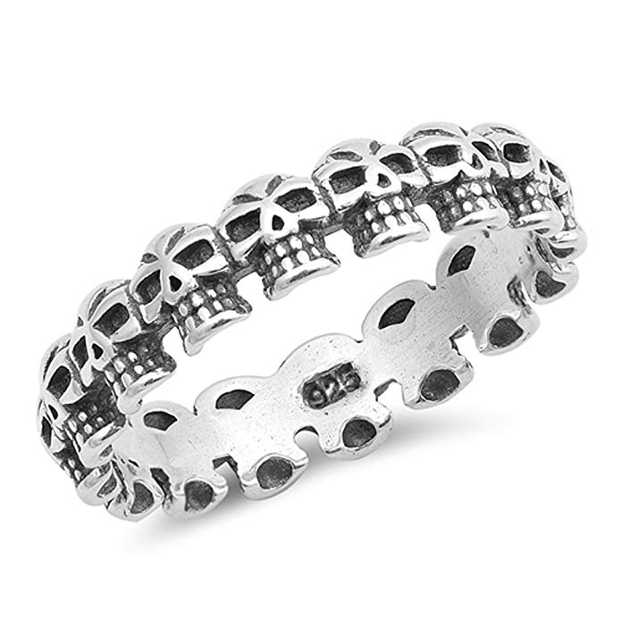 Cráneo con aspecto oxidado anillo de eternidad apilable Biker Banda de plata de ley 925